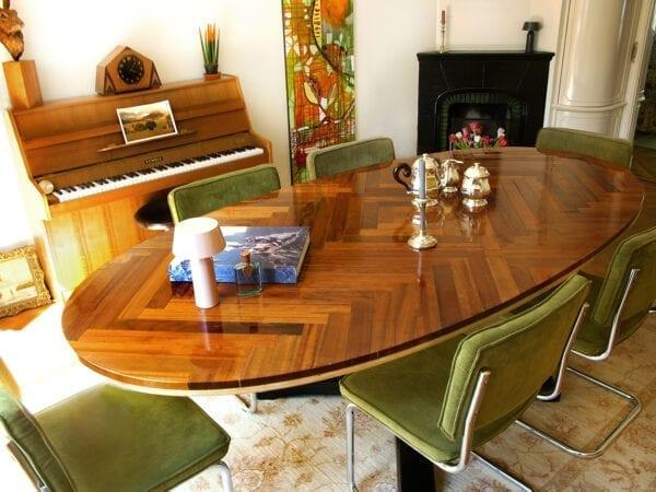 tafel Amsterdam hout en visgraat motief